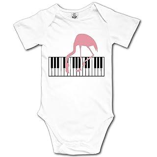 HFJFJSZ Piano Player Pink Flamingo Short Sleeve Baby Bodysuit Onesies