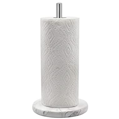 Topsky Paper Towel Holder for Kitchen - Kitchen Paper Towel Dispenser with Weighted Base for Standard Paper Towel Rolls, Stainless Steel and Marble Effect
