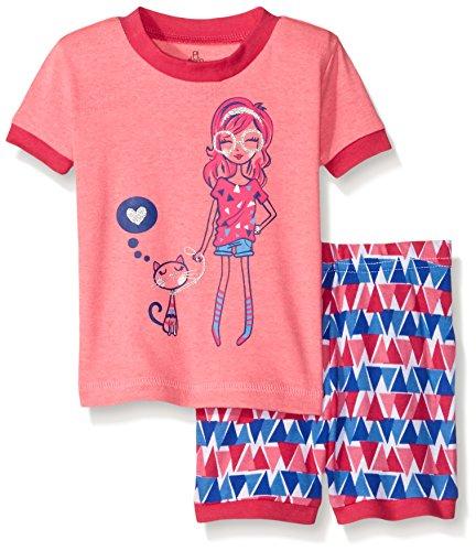 Sleeve 2 Piece Pajamas - Petit Lem Baby Girls' 2 Piece Sleeve Top and Short Pajama Set-Aztec Kat, Pink, 12 Months