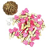 [Hearts-1] 48 Pcs Cute Wooden Photo Clips Craft Photo Paper Pegs Clothespins