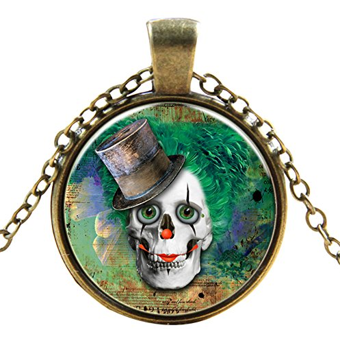 Skull with top hat style Classic Unisex Steampunk Necklaces in 27 Great Styles Unisex Gothic Goth Necklace Emo Vintage Cyber Men Women Jewellery Cosplay Skulls Cogs Designs (Top Hat Buy Cheap)