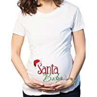 Zhhlinyuan Women's Christmas White Pregnant T Shirt Mom Maternity Clothes Polyester Short Sleeved Casual Comfy Blouses Funny Print Tops - P228-YSTWH