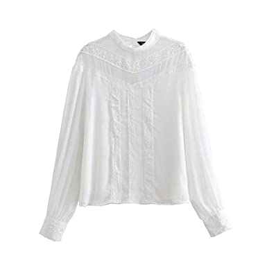 4d53ea983 Women Sweet Lace Patchwork Chiffon Blouse Long Sleeve O Neck White Shirts  Solid Female Casual Chic Tops Blusas LA755 at Amazon Women's Clothing store: