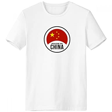 725fc1dfb Amazon.com: Made in China Round National Flag Stars Red Yellow Chinese  Crew-Neck White T-shirt Spring and Summer Tagless Comfort Cotton Sports T- shirts ...