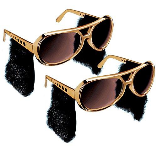 Elvis Sunglasses With Sideburns (Elvis Sunglasses - 2pc Elvis Presley Sunglasses - Gold Elvis Style W/ Sideburns)