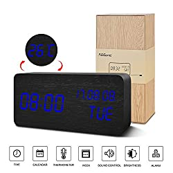 Desk Clock---FiBiSonic Black Clock Blue Led Digital Alarm Voice/Touch Control Desk Silent Modern Style Alarm Clock with Thermometer and Calender