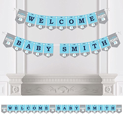 Big Dot of Happiness Personalized Blue Elephant - Custom Boy Baby Shower Bunting Banner & Decorations - Welcome Baby Custom Name Banner