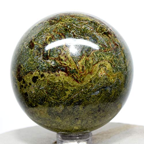 54mm Dragon Blood Stone Sphere Green Red Natural Heliotrope Crystal Ball Polished Mineral Gemstone - South Africa + ()