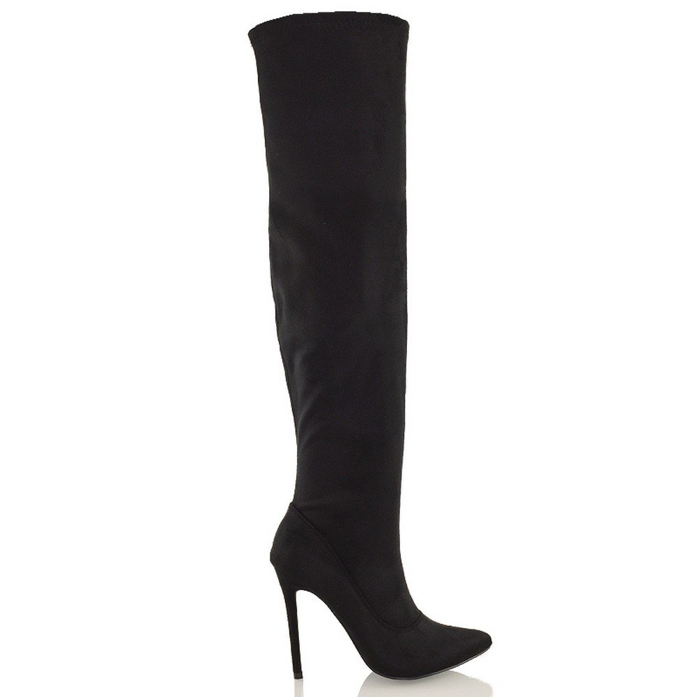 Essex Glam Womens Black Faux Suede Over The Knee Thigh High Stiletto Heel Stretch Boots 8 B(M) US