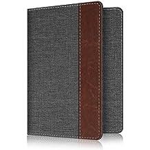Fintie Passport Holder Travel Wallet RFID Blocking Fabric Card Case Cover, Denim Charcoal/Brown