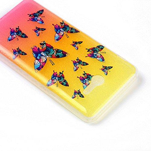 Silicona Funda Samsung Galaxy J7(2017)(con Lápiz óptico Negro),KaseHom Brillante Diamante Stylish Diseño Oro y Rojo Patrón de Combinación Caja Suave + Flexible TPU Gel Silicone Bumper Shock-Absorción  Mariposa Colorida