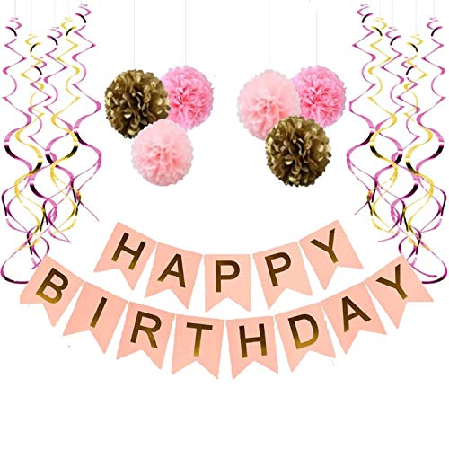 Happy Birthday Banner, With 6 Pom Pom Color Pink, Gold And Dark Pink, With 6 Hanging Swirls gold and pink, Birthday Decorations,]()