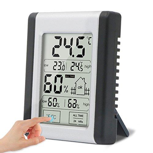 Digitales Thermo Hygrometer Thermometer,Solocil Innen Digital LCD Thermometer Hygrothermograph, Multifunktionaler Temperatur und mit MIN/MAX Records