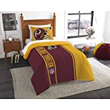 Single Piece Twin NFL Washington D.C. Redskins Football Team Comforter, Sports Pattern Fan Bedding, Football Themed, Featuring Team Logo, Dark Maroon Mustard Yellow, Redskins Merchandise, Team Spirit