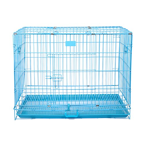 SL&ZX Folding metal dog crate,Dog cage cat cage small medium to large kennel covers stainless steel dog houses pet cage dog crates single door portable cat cage kennel-Blue 76x46x55cm(30x18x22inch)