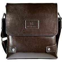 Mens Genuine Leather Bag Messenger Bag For Man Crossbody Bag (Dark Brown)