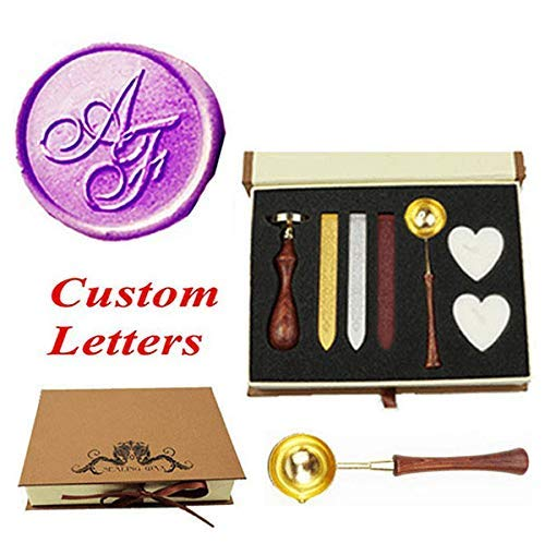 - MNYR Vintage Custom Wedding Wax Seal Stamp Kit 2 Letter Monogram Spoon Wax Stick Candle Gift Box kit Invitation Christmas Gift Wrap Custom Customize Personalized Text Design Sealing Wax Seal Stamp Set