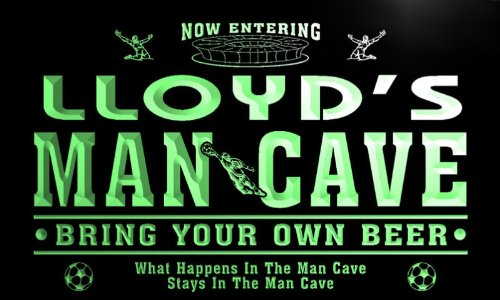 qd1470-g LLOYD's Man Cave Soccer Football Bar Neon Beer Sign by AdvPro Name