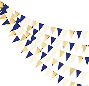 30 Ft Navy Blue Beige Gold Party Decorations Hanging Paper Triangle Flag Pennant Banner Bunting Garland for Bachelorette Engagement Wedding Birthday Baby Bridal Shower Anniversary Hen Party Supplies