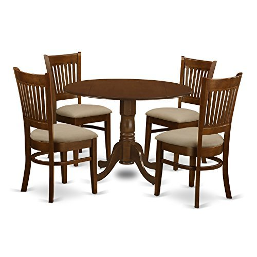 """East West Furniture DLVA5-ESP-C 5 Piece Set Dublin Dinette Table with Two Drop Leaf 9"""" and Four Cushioned Seat Kitchen Chairs in Espresso"""