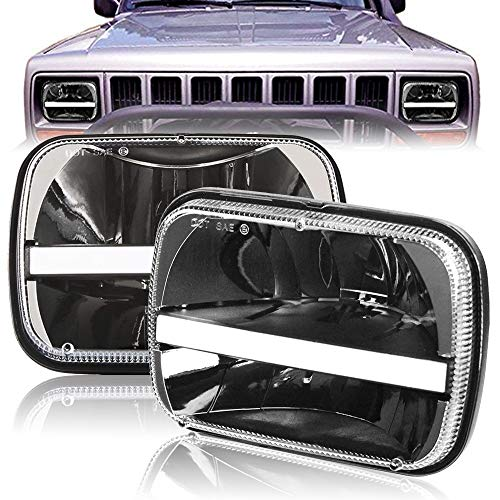 2 Pcs 5X7 7X6 Inch Rectangular Led Headlights Beam Hi/Lo Headlamp with DRL Turn Signal for Jeep Wrangler YJ Cherokee XJ Trucks 4x4 Offroad H6054