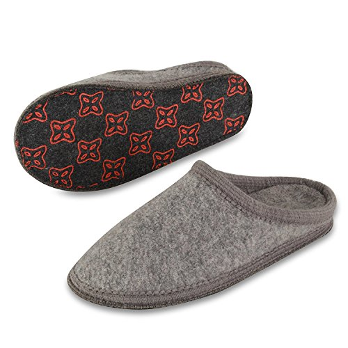 Ruby Slippers Adult Shoe Cover (LE KAPMOZ Men's Winter Warm Slip On Wool Slipper Indoor Clog Mule House Shoes For Men (Small/Men 6-7=40 EU=Women 7.5-8.5, Gray))