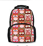 School Backpack, Student Shoulder Bookbag Laptop Bag for Teen Boys and Girls (Owls Lovely Pink)