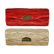 Lipstick Case with Horizontal Pleats - Set of 2 - Red & Tan