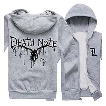 DEATH NOTE Lawliet Logo Print Long Sleeve Hoodies Coat Cosplay Grey XL