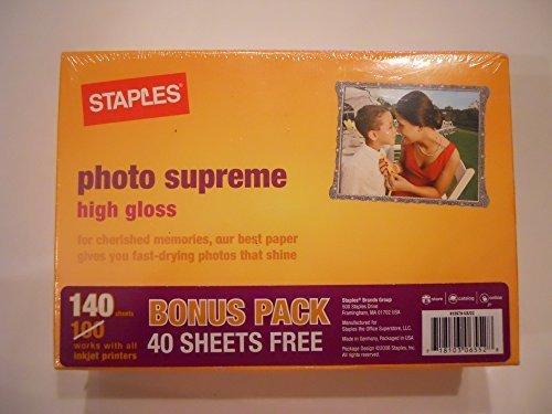 (STAPLES Photo Supreme High Gloss Photo Paper 4 x 6 inches 140 Sheets for Inkjet Printers #518981 Bonus Pack)