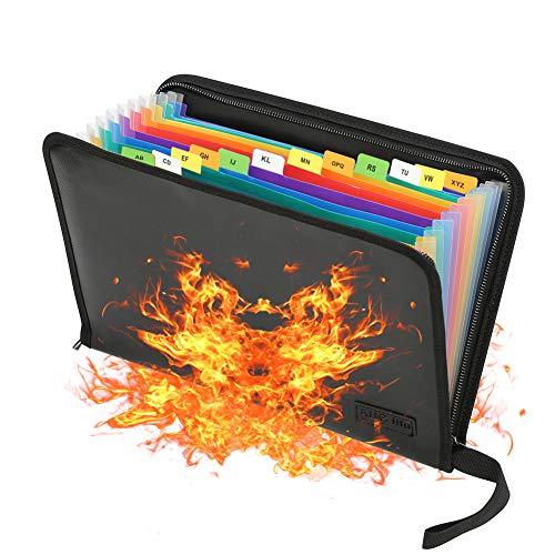 Fireproof File Folder Letter Size Folder Organizer and Water Resistant with Silicone-Coated Heat Resistant Money Document Bag A4 Portable Rainbow Zipper Closure Bills Storage Organizer (13 Pockets)