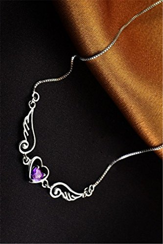 Generic Tanabata_Valentine's_new_angel_wing_lovers_natural_amethyst_heart_ necklace pendant