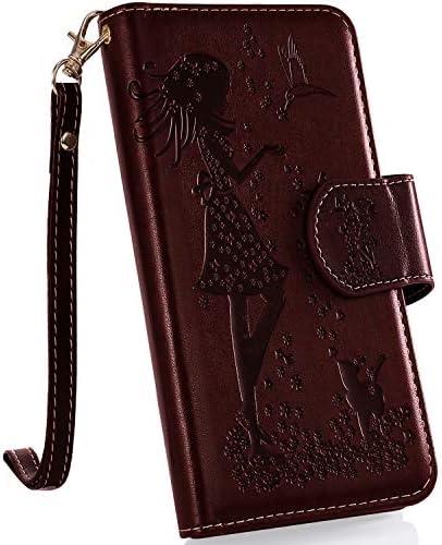 Uposao Kompatibel mit Samsung Galaxy A70 Handyhülle Multifunktional 9 Kartenfach Blumen Geldbörse Flip Schutzhülle Vintage Dünne Handytasche Brieftasche Etui Magnetische Lederhülle,Gold