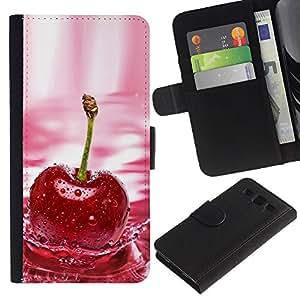 YiPhone /// Tirón de la caja Cartera de cuero con ranuras para tarjetas - CHERRY SPLASH - Samsung Galaxy S3 III I9300