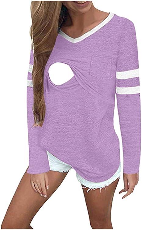 Mujer Raya Acanalada Side-Shred Enfermería Arriba Manga Larga Amamantamiento La Camisa Sujetadores y de Lactancia para Ropa Dormir Camisones Camisetas Trajes baño: Amazon.es: Deportes y aire libre