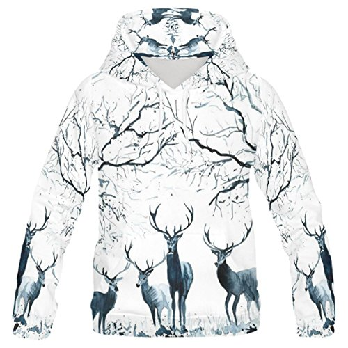 INTERESTPRINT Custom Ink Painting Wildlife Animal Deer Teenager's Pullover Hoodies Sweatshirt L