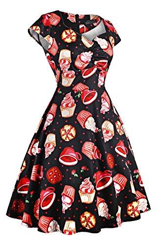 Axoe Damen 50er Jahre Festliche Totenkopf Vintage Kleid Partykleider ...