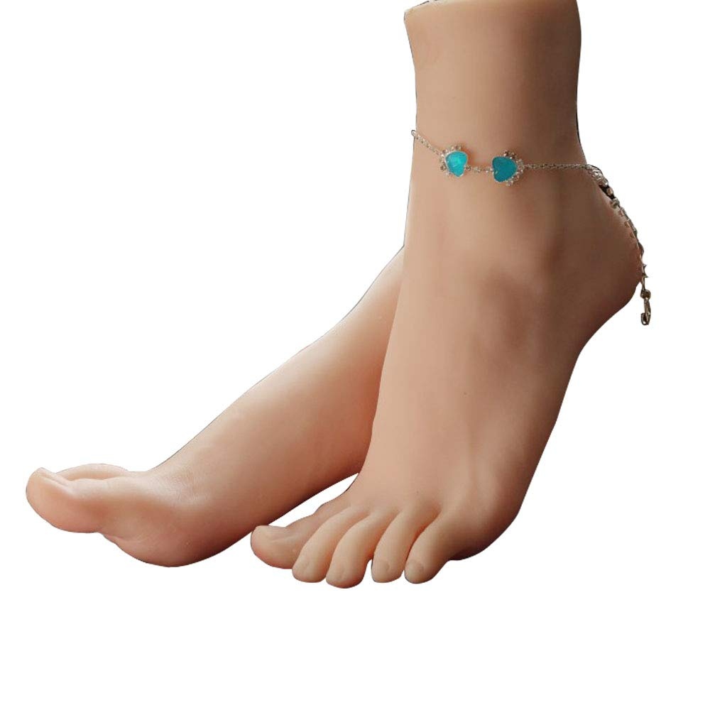 1 Pair Silicone Lifesize Female Mannequin Foot Display Jewerly Sandal Shoe Sock Display Art Sketch with Nail ZTD J-3804