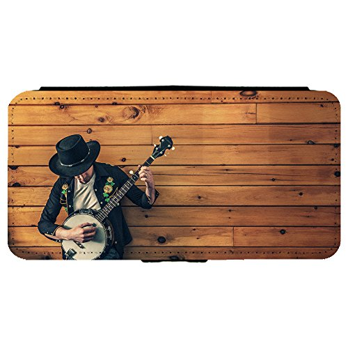 Image Of Guy Musician Playing Banjo Against Aged Wooden Wall Samsung Galaxy S8 Plus Leather Flip Phone Case