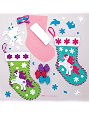 Baker Ross AT293 Kits de Costura Unicornio Navideño, Artes y Manualidades Festivas, Pack de 3