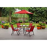 Cheap Mainstays Albany Lane 6-Piece Folding Dining Set, Red