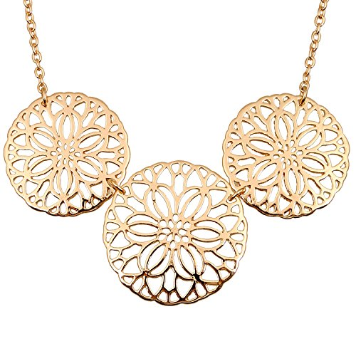 D EXCEED Fashion Gold Filigree Flower Cutout Statement Necklace for Women 18 Inches