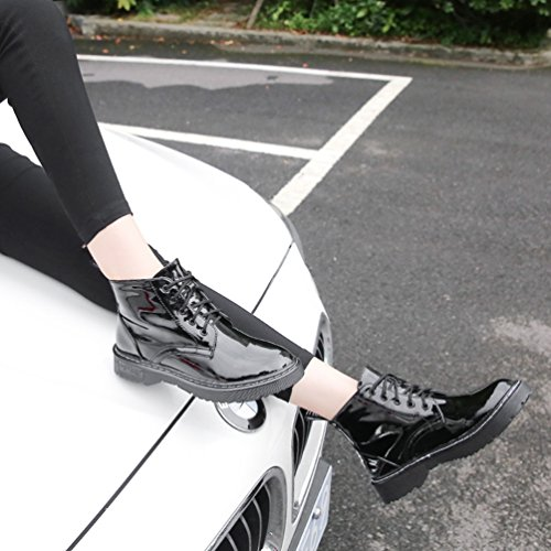 Anguang Women's Warehouse Boots Winter Snow Warm Ankle Boots Lace Up Shoes Black 2 xtwCIPO