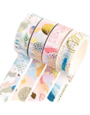 Yubbaex Gold Washi Tape IG Style Foil Masking Tape Set Decorative for Arts, DIY Crafts, Bullet Journal Supplies, Planners, Scrapbook, Card/Gift Wrapping -4 Rolls x 15mm