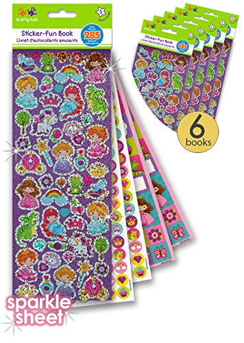 6 Pk Sticker Books for Girls- 30 Sheets - Shiny Prism Stickers, Reward Sticker Dots, Name Tag Stickers for Kids - Princess Stickers - Unicorn Stickers - Princess Party Favors - Unicorn Party Favors