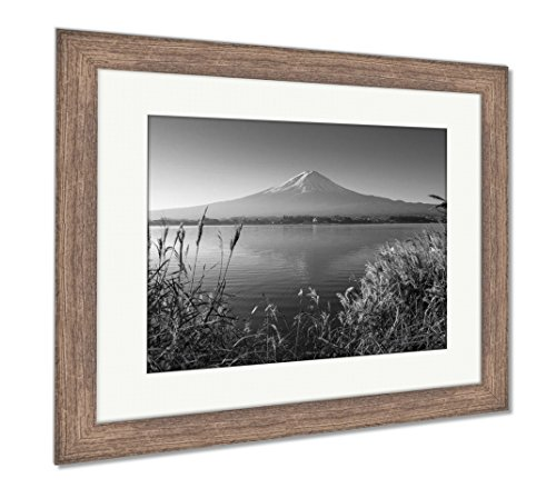Mountain Fuji in Morning from Lake Kawaguchiko, Wall Art Home Decoration, Black/White, 34x40 (Frame Size), Rustic Barn Wood Frame, AG5910127 ()