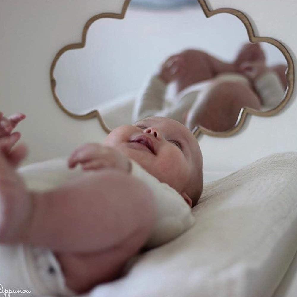 Yiyaqeanca Children Decorative Mirror Bathroom Baby Room Decor Wooden Wall Mirror Home Art Decoration Durable Figurines Miniatures