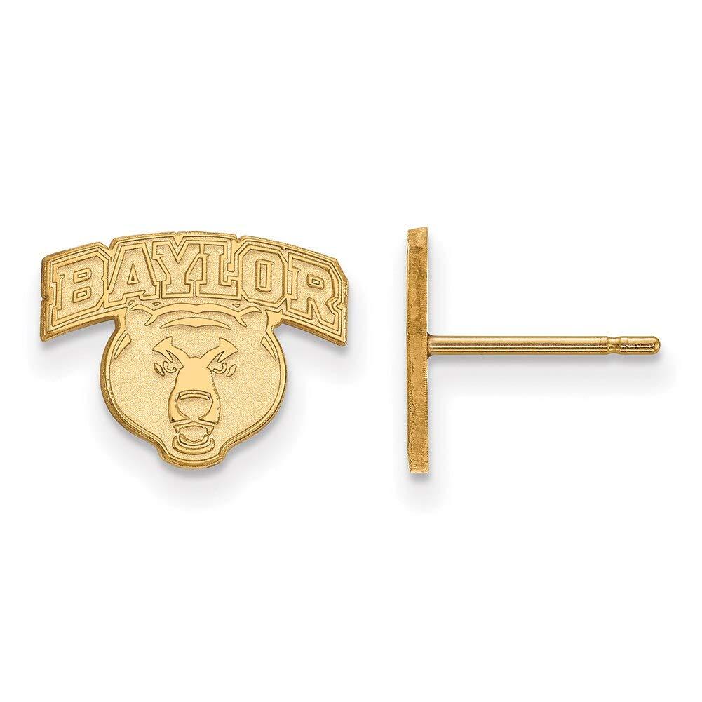 Lex /& Lu LogoArt 14k Yellow Gold Baylor University XS Post Earrings LAL136752