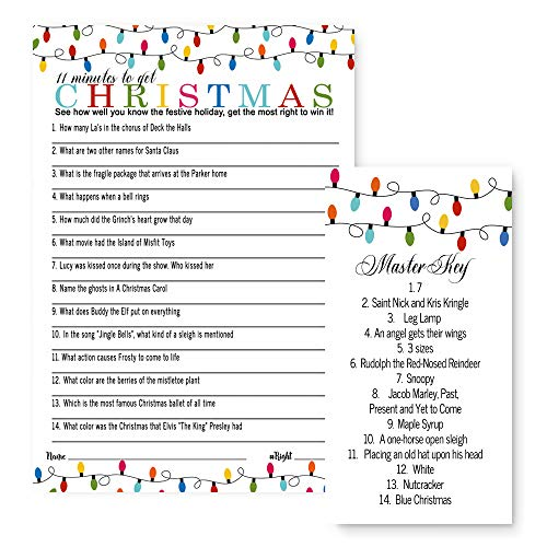 Christmas Party Games Set of 25 Festive Holiday Trivia Cards