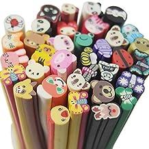 Fujiyuan 20 PCS Mixed Animal Fimo Polymer Clay Cane Rod Nail Decorations Stick Sticker DIY Nail Art